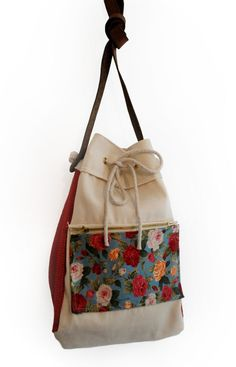 Cream Calico Satchel with Floral Pocket by Cut Out Girls - D/M