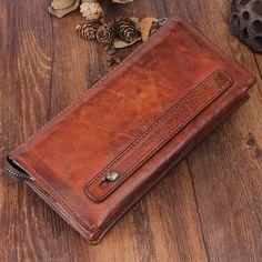 Handmade Top Grain Men Leather Long Wallet Wristlet Bag ClutchBag Gift QY185
