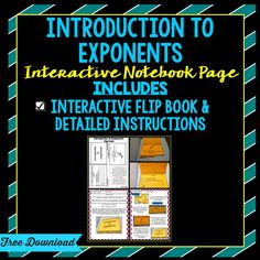 Introduction to Exponents Flip Book *Free Download*
