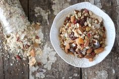 Nourishing Muesli-Nuts,Seed,Grains, and dried fruits.Muesli is probably one of the most nutritious and healthy breakfast one can have. More details on whatsfordinnermommy,ca Gf Recipes, Shake Recipes, Whole Food Recipes, Cooking Recipes, Healthy Recipes, Vegan Gluten Free Breakfast, Breakfast Recipes, Homemade Breakfast, Breakfast Ideas