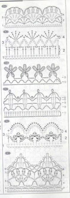 If you looking for a great border for either your crochet or knitting project, check this interesting pattern out. When you see the tutorial you will see that you will use both the knitting needle and crochet hook to work on the the wavy border. Crochet Boarders, Crochet Edging Patterns, Crochet Lace Edging, Crochet Diy, Crochet Motifs, Crochet Diagram, Crochet Chart, Love Crochet, Filet Crochet