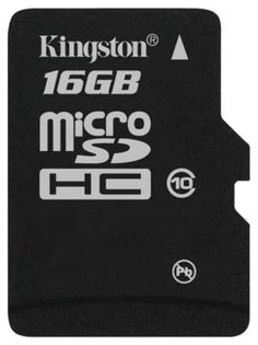 Kingston SDC10/16GBSP  — 990 руб. —  Недорогая карта памяти Kingston microSDHC 16Gb Class 10 будет отличным приобретением для вашего смартфона, планшета или фотоаппарата. Ее объем составляет 16 Гб, чего вполне достаточно для хранения коллекции аудиофайлов, нескольких фильмов или большого количества фотографий. Карта памяти Kingston microSDHC 16Gb Class 10 имеет формат microSD, который сегодня очень популярен и поддерживается большинством электронных устройств. Модель имеет 10-й класс…