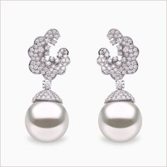 Yoko London White Gold South Sea Pearl and Diamond Earrings, from our Mayfair collection. Pearl And Diamond Earrings, Pearl Jewelry, White Gold Diamonds, Colored Diamonds, Yoko London, South Sea Pearls, South Seas, Diamond Clarity, Cultured Pearls