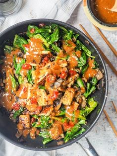 Tempeh Stir Fry With Mushrooms And Broccoli Gf, Vegan This Fragrant Tempeh Stir Fry Makes For An Easy Asian Themed Healthy Dinner Ready In Under 30 Minutes. Made With Gailan And Mushrooms, Topped With A Creamy Spicy Tahini Sauce. Gluten Free And Vegan Vegetarian Breakfast Recipes, Vegetarian Dinners, Fried Mushroom Recipes, How To Cook Tempeh, Sushi Roll Recipes, Bok Choy Recipes, Healthy Stir Fry, Asian Recipes, Ethnic Recipes