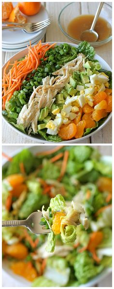 Asian-Style Cobb Salad - This salad serves as the perfect light meal, full of protein and veggies with a simple sesame vinaigrette! __ Looking for healthy food recipes? Check out our site now!