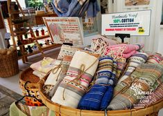 WHAT TO BUY IN THAILAND: Handmade cotton scarves for sale in a Thai boutique