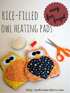 Rice-filled owl heating pads. Cute, frugal, easy, and adorable DIY! Great for gifting or just staying cozy on cold nights.