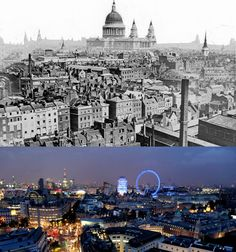 Then: In the 19th century, London was a crowded city known for its densely-packed rooftops, but it lacked tall buildings. Now: a relatively recent building boom has added new landmarks to London's skyline.