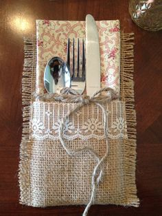 burlap, lace, fabric and jute utensil holder.
