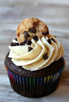 Chocolate- Chocolate Chip Cookie Dough Cupcakes
