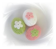 SaVö-Design - 3 gehäkelte Ostereier weiss-rosa-hellgrün , Shabby chic