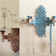 Repurposed Vintage Wall Sconce #diy #vintage #paint #aqua #jewelryholder