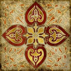 India Gold Retro Ethnic Patterns Canvas Wall Art