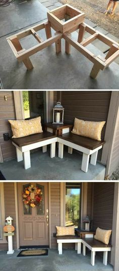 12 Creative DIY Corner Bench With Built-in Table Decor For Small Spaces – Runn. - 12 Creative DIY Corner Bench With Built-in Table Decor For Small Spaces – RunningAble Home Ideas - Sweet Home, Diy Casa, Diy Holz, Decorating Small Spaces, Porch Decorating, Budget Decorating, Holiday Decorating, Decor For Small Spaces, Cheap Decorating Ideas