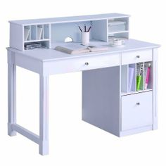 WE Furniture Deluxe Solid Wood Desk w/ Hutch - White by Walker Edison. $369.95. Assembly instructions with online support and toll-free number available. Ships Ready-To-Assemble with all necessary tools. Hutch has a cable management opening to organize cords. Drop down keyboard tray. Hanging file drawer and file slots. Hutch stores papers, bills, and other important items.. Bring a touch of elegance to your home office with this deluxe solid wood desk and hutch set....
