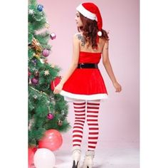 0c58232902b Red Modern Ladies Halter Flannel Christmas Santa Costume (£17) ❤ liked on  Polyvore featuring costumes