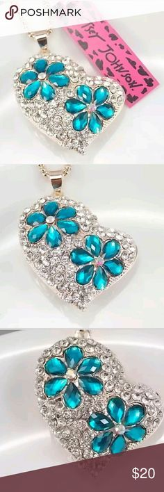 NEW YEARS SALE! Betsey johnson heart necklace Brand new with tags! Betsey johnson silver heart with blue flowers pendant necklace. NEW YEARS SALE! CAN SHIP SAME DAY OR NEXT!! Betsey Johnson Jewelry Necklaces