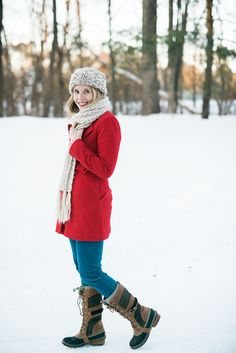 Red winter style by @lynzy featuring Lookbook Store's red removable collar coat. #LBSDaily | Lookbook Store OOTD