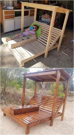 Extraordinary DIY Wood Pallet Ideas for Your Home Wood pallets have always remained one of the favourite choices in the locations of the gardens. In this wood pallet idea as well you will be catching the impressive use of the outdoor sun lounger design th Pallet Garden Furniture, Diy Outdoor Furniture, Furniture Projects, Garden Pallet, Furniture Plans, Diy Furniture From Pallets, Pallet Furniture For Outside, Rustic Furniture, Modern Furniture