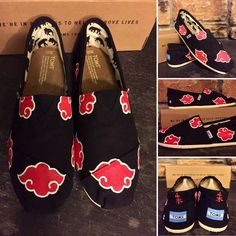 Akatsuki TOMS (Naruto shippuden) Price based on Poshmark commission! Please visit my site www.etsy.com/shop/TrueColorsCT for $30 off. BNWT hand painted (by me) TOMS. Choose your size. Takes 1-2 weeks to ship. Painted for my boyfriend as a Christmas gift and has sold like crazy since then! Feel free to ask questions!! Price based on cost of shoe plus time to complete. :) TOMS Shoes Flats & Loafers