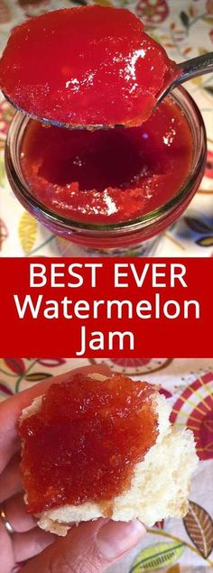 Watermelon Jam – Easy and Foolproof This watermelon jam recipe is amazing! Perfectly set jam that tastes like extremely concentrated watermelon – mmmmm! Super easy to make, perfect for beginners! This is the only watermelon jam recipe you'll ever need! Watermelon Jam, Watermelon Preserves Recipe, Can You Freeze Watermelon, Fruit Preserves, Fruit Jam, Jelly Recipes, Easy Jam Recipes, Homemade Jam Recipes, Canning Recipes