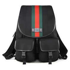 Gucci Gucci Band Signature Web Canvas Backpack featuring polyvore women's fashion bags backpacks black waist bags canvas zipper pouch canvas pouch buckle flap backpack fanny bag