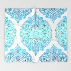 Through Ocean & Sky - turquoise & blue Moroccan pattern Throw Blanket