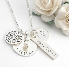Family Necklace  Personalized hand stamped by divinestampings, $57.00
