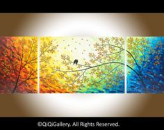 """Large Wall art 72"""" original Romantic love birds art home decor wall hangings landscape Painting"""" Over the Rainbow"""" by qiqigallery"""