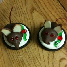 Make these cookies every year on Christmas Eve - fun for the kids - have become a tradition.  Marichino cherry with stems body dipped in melted chocolate, attach the Hersheys Kiss head and almost slice ears, sit them on an oreo cooke 1/2 and decorate with gel frosting.
