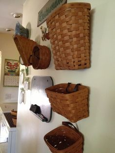 Wall of Longaberger baskets