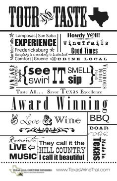 Texas Hill Country Wineries Typography Canvas |Texas Hill County Wineries   #txwine
