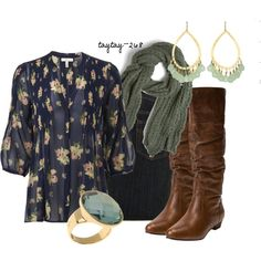 """""""Fall Floral"""" by taytay-268 on Polyvore -- I like that this shirt is patterned but still manages to be a neutral."""