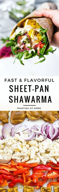 Sheet Pan Shawarma made with either chicken or tofu (or both!). Turn them into healthy Shawarma Bowls or Shawarma Wraps... your choice! #SheetPanDinner #Shawarma