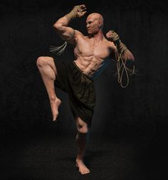 Fighter Muay Boran, Sergey Kudryavtsev/Сергей Кудрявцев on ArtStation Action Pose Reference, Human Poses Reference, Pose Reference Photo, Body Reference, Action Poses, Muay Boran, Muay Thai, Karate, Fighting Poses
