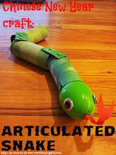 Articulated snake craft for the Chinese New Year. You can hide treats in the snake's head!