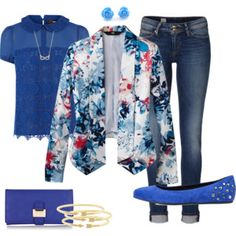 Blue Floral Dressy/Casual