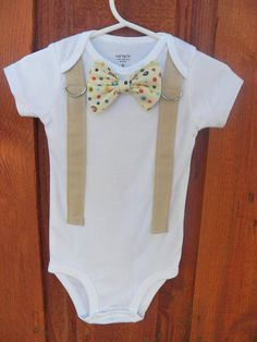 Baby Boy Bowtie & Suspender Onesie or shirt  All by shopantsypants, $18.00. Again.. Want!