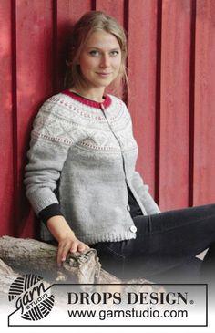 Narvik Jacket / DROPS 183-1 - Jakke med rundfelling, flerfarget norsk mønster og A-fasong, strikket ovenfra og ned. Størrelse S - XXXL. Arbeidet er strikket i DROPS Karisma