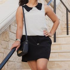 """Forever 21 White/Black PolkaDot Sleeveless Top This top is great for many looks, so chic! Pair with some skinnies and throw a cardigan over for a casual look. Dress it up with a pencil skirt or leather shorts. Cute black sheer paneled collar. Length is approx 24.5"""" ❌NO TRADES OR PAYPAL❌PRICE IS FIRM EVEN IF BUNDLED Forever 21 Tops"""