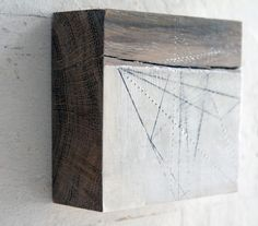 Oak Block Geometric. Paper, Gesso & Graphite on oak Block. 15cm x 12xm x 3cm Helen Booth http://helenbooth.com