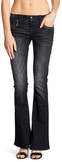 Miss Me Embellished Mid Rise Flare Jeans