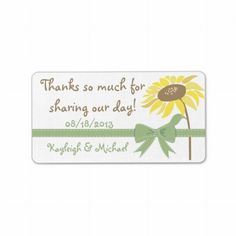 Sunflower Love Wedding Favor Sticker     Rustic, whimsical country design featuring a sunflower and green ribbon bow. Personalize all text yourself for any event your having! Matches our Sunflower Love wedding collection.