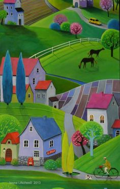 quenalbertini: by Iwona Lifsches Illustrations, Illustration Art, Storybook Cottage, Naive Art, Art For Art Sake, Colorful Paintings, Whimsical Art, Landscape Art, Art Lessons
