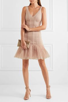 Hervé Léger - Tulle-paneled Jacquard-bandage Mini Dress - Cream -