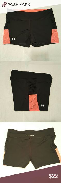 Under Armour Heat Gear Compression Shorts Sz Large  Hot Pink and Black Under Armour Shorts