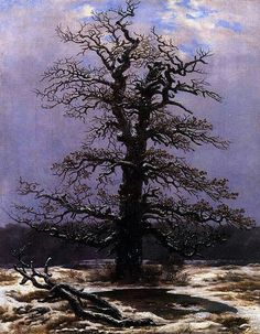 Caspar David Friedrich (German, 1774-1840), Eiche im Schnee [Oak in Snow], 1827. Oil on canvas, 44 x 34.5 cm.