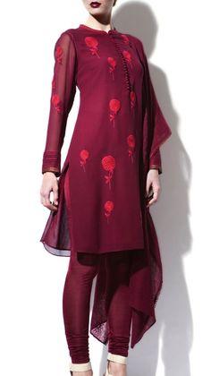 Maroon Coloured Kurti Suit | Strandofsilk.com - Indian Designers