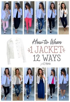 How to wear one white denim (jean) jacket twelve ways! Less than $19 too! #justpostedblog #ShopStyle #shopthelook #MyShopStyle #OOTD #LooksChallenge #ContributingEditor #Lifestyle...