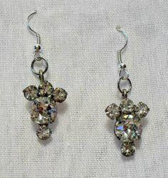 Vintage 1950s Coro Clear Rhinestone Dangle Earrings